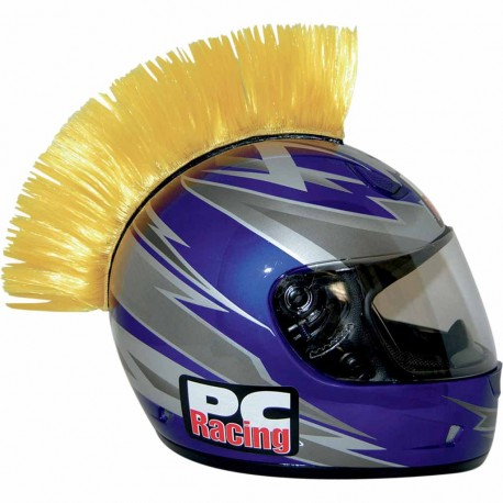 Crète de casque moto scooter PC Racing Mohawk jaune