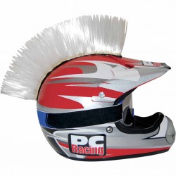 Crète de casque moto scooter PC Racing Mohawk Blanc
