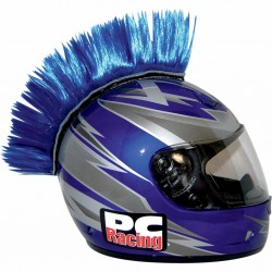 Crète de casque moto scooter PC Racing Mohawk bleu