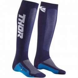 Paire de chaussette longue moto cross THOR MX COOL Navy/Blanc