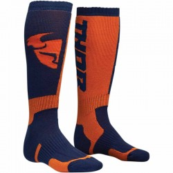 Paire de chaussette longue moto cross THOR MX COOL Bleu/Orange