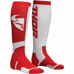 Paire de chaussette longue moto cross THOR MX COOL Rouge/Blanc