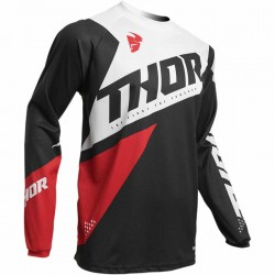 Maillot moto cross homme Thor Sector Blade Charcoal / Rouge