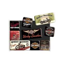 LOT DE 9 AIMANTS HARLEY-DAVIDSON VINTAGE
