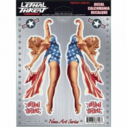 Kit Stickers autocollant pour moto Lethal Threat USA Pinup Girl 15 x 20.5 cm