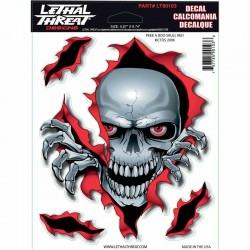 Stickers autocollant pour moto Lethal Threat Peek-a-boo skull 15 x 20.5 cm