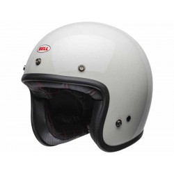 Casque Jet moto Bell Custom 500 DLX Solid blanc look vintage