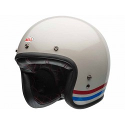 Casque Jet moto Bell Custom 500 Stripes Pearl Blanc Look vintage