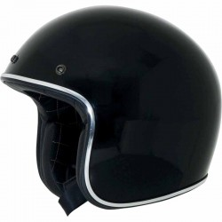 Casque jet moto AFX FX76 Vintage Noir / Chrome finition brillant
