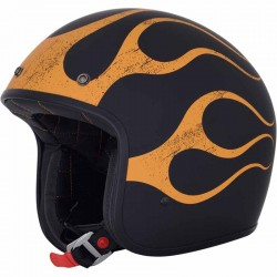 Casque jet moto AFX FX76 Flamme vintage Noir / Orange mat