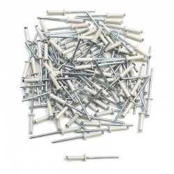 Lot de 100 rivet pop blanc Ø4x16 RAL9002 pour plaque d'immatriculation auto moto