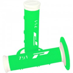 Revêtements de poignée Progrip 791 Closed end Blanc / Vert Fluo MX-Enduro-Cross