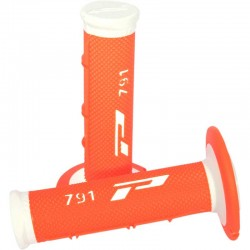 Revêtements de poignée Progrip 791 Closed end Blanc / Orange Fluo MX-Enduro-Cross