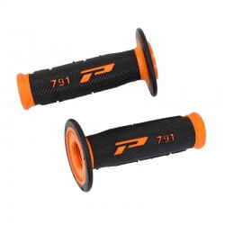 Revêtements de poignée Progrip 791 Closed end Noir / Orange MX-Enduro-Cross