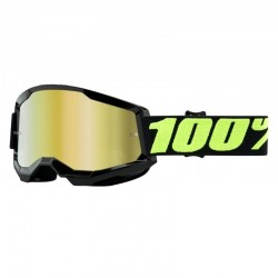 Masque lunette cross 100% Strata 2 Upsol Noir écran iridium or