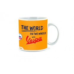 "MUG VESPA ORANGE COLLECTION "" THE WORLD "" EN CERAMIQUE"