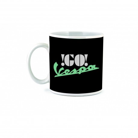 "MUG VESPA NOIR COLLECTION ""GO  VESPA"" EN CERAMIQUE"