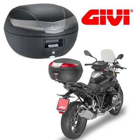 TOP CASE GIVI V40 NOIR CATADIOPTRES TRANSPARENT MONOKEY 40 L POUR MOTO SCOOTER