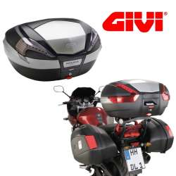 TOP CASE GIVI MAXIA V56NT NOIR CATADIOPTRES TRANSPARENT MONOKEY 56 L  MOTO SCOOTER
