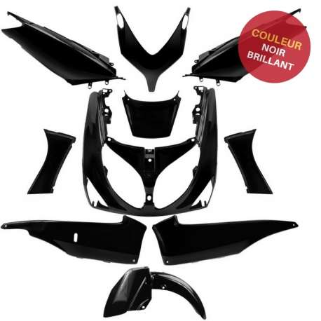 KIT CARENAGE PLASTIQUE 10 PIECES NOIR BLACK BRILLANT YAMAHA TMAX T MAX 500 2001-2007