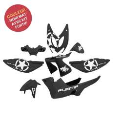 KIT CARENAGE PLASTIQUE 8 PIECES FURTIF NOIR MAT MBK NITRO YAMAHA AEROX 1997-2012