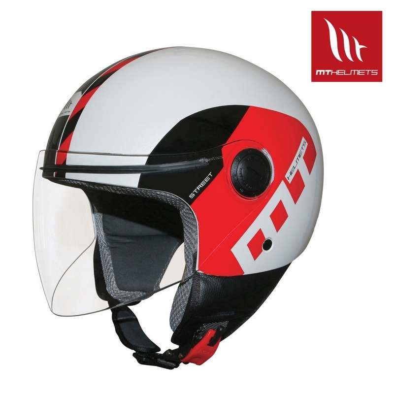 casque jet moto scooter homologu mt helmets street metro blanc noir rouge vospieces2roues. Black Bedroom Furniture Sets. Home Design Ideas
