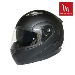 CASQUE INTEGRAL MODULABLE MOTO SCOOTER MT HELMETS FLUX SOLID DOUBLE ECRAN NOIR MAT