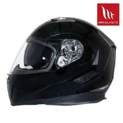 CASQUE INTEGRAL MODULABLE MOTO SCOOTER MT HELMETS FLUX SOLID NOIR BRILLANT