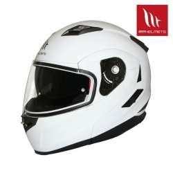 CASQUE INTEGRAL MODULABLE MOTO SCOOTER MT HELMETS FLUX SOLID BLANC BRILLANT